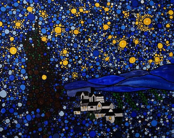 Starry Night 16x20 acrylic on canvas painting. Rachel Olynuk Rachel Olynuk