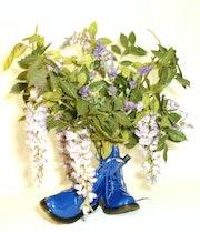 Hiris bleu de la chausure.