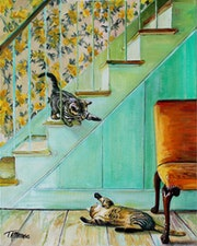 Kittens Playing on the stairs.