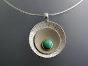 Collier argent argent turquoise.