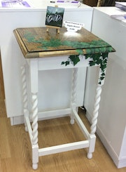 Antique Night Stand, Hand Painted with Ivy 3d effect. Seahorseart