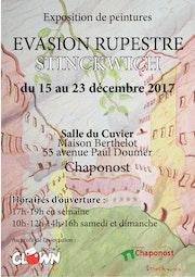 Affiche d'exposition. Chaponost 2017. Evasion rupèstre..