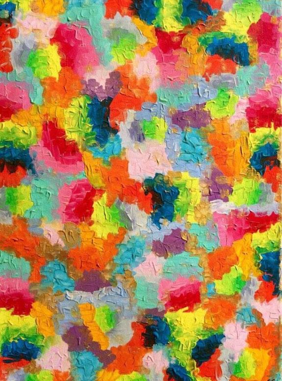 «Flowers» art abstrait moderne contemporain acrylique 50x70. Sandra Cremonese Xenart