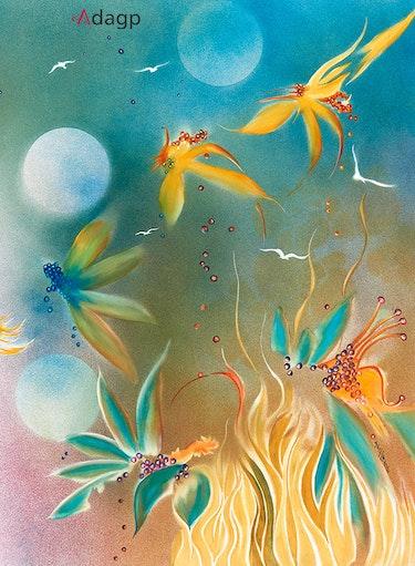 Fleurs de feu pastels à l'huile. Devy Laure