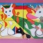 Ensemble de 4 tableaux acryliques (40.43.48.75) «Michaduck». Acr. Acrtoiles