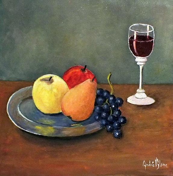 Coupelle en étain avec fruit et boisson. André Blanc Andre Blanc