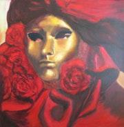 Masque aux roses rouges Carnaval de Venise. Isabelle Rombi