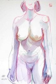Print, Female Nude Akt #3789 (1994/2017) Frontalansicht. Hajo Horstmann