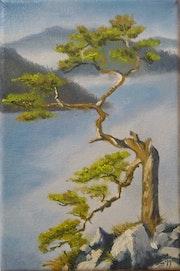 Huile sur toile «Au delà de la brume».