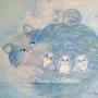 Peinture acrylique «Dans le monde des chats bleus». Oxana Mustafina