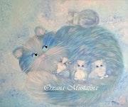 Peinture acrylique «Dans le monde des chats bleus».