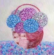Peinture acrylique Chat-panier.