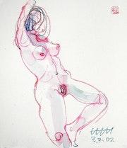 Print, Female Nude Akt #10833 (2002/2017), Ansicht von vorn rechts. Hajo Horstmann