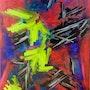 «Flamenco spirit » art abstrait, abstract modern contemporary art 60x80cm. Xenart
