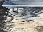 Clair de lune sur le Lac d'Annecy.