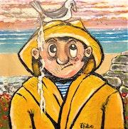 «En Bretagne, il n'y a pas que la pluie… » Acrylique/toile 20/20cm.