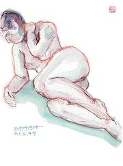 Print, Female Nude Akt #9360 (1999/2017), aquarellierte Zeichnung. Hajo Horstmann
