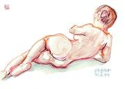 Print, Female Nude Akt #9361 (1999/2017), aquarellierte Zeichnung. Hajo Horstmann