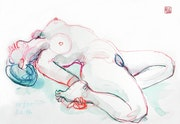 Print, Female Nude Akt #5691 (1996/2017), aquarellierte Zeichnung. Hajo Horstmann