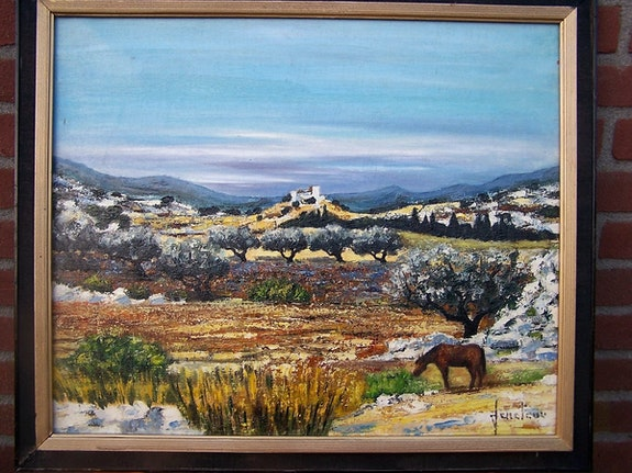 Landscape with hills and horse. Unknown Bert Veenema