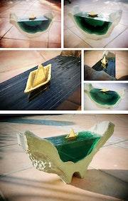 Sculpture de verre béton et plomb. Emmanuel Joly