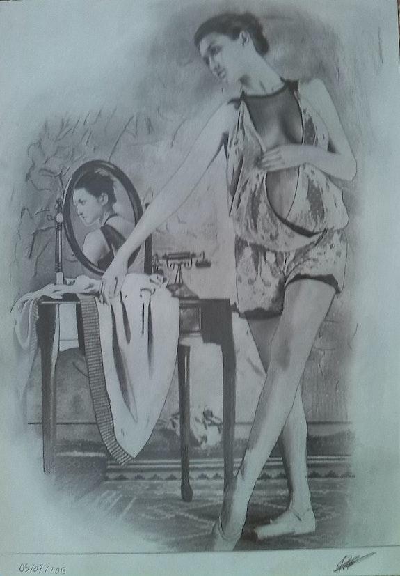 Dessin au crayon graphite intitulé La danseuse. Lucien Perfecto Prot Prost's Art