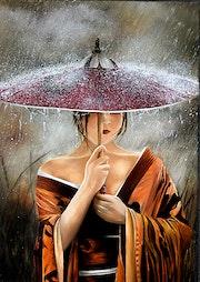 Sous la pluie. Houmeau