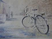 Vélo sous la neige.