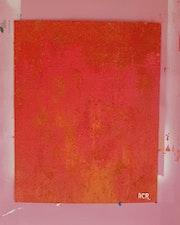 Tableau acrylique et mixte (79) «Rouille῎. Acr. Acrtoiles