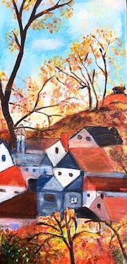 Mon village en rouge et or.