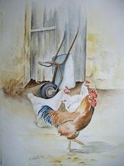 Deux poules un coq. Retraitée