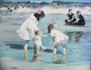 Children playing at the seashore. Zimmermann, Gerd «The Artist»