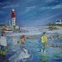 Pêche à pied dans un petit port breton. Rp-Herpe