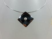 Collier argent poli et oxydé + perle de culture.