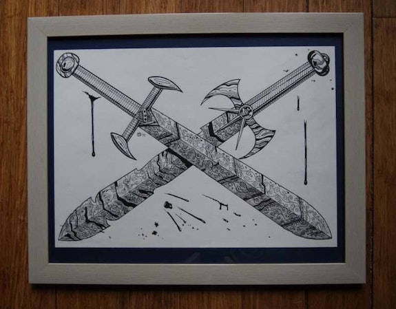 Crossed Swords - a Sketch. Martin Jaques Dragonz Art