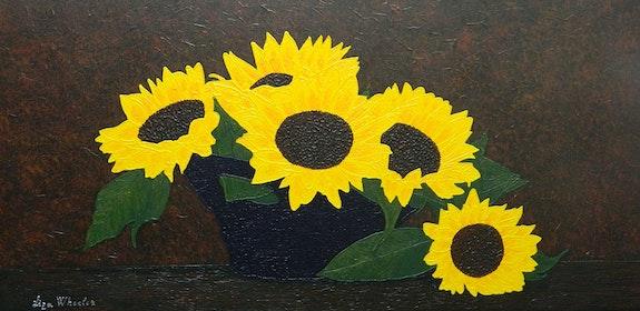 Summer Kiss - large sunflower still life painting. Liza Wheeler Liza Wheeler