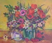 Blumenstillleben, Öl auf Leinwand, 2000.