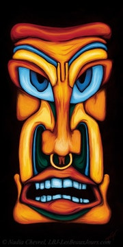 Table totem multicolor painting Maori culture tiki Maori digital painting. Nadia Chevrel
