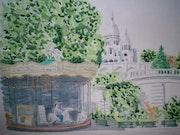 Aquarelle originale du sacre coeur a montmartre a paris - signee du peintre.