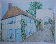 Aquarelle originale - village de gerberoy dans l'Oise - signee du peintre.