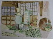 Aquarelle originale d'une distillerie dans les vosges - signee du peintre.