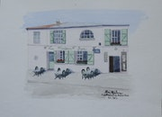 Aquarelle originale de la maison rose a montmartre a paris - signee du peintr.