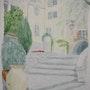 Aquarelle originale du centre de bormes les mimosas - signee du peintre. Mauguil