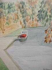 Aquarelle originale - toulouse automnale - signee du peintre.