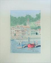 Aquarelle originale - st jean de luz - signee du peintre - encadree.