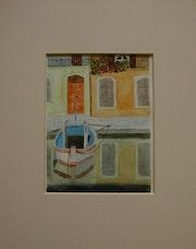 Aquarelle originale - miroir a martigues - signee du peintre - encadree.