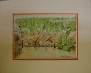 Aquarelle originale - Ornans - signee du peintre - Encadrée.