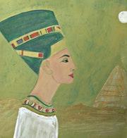 Queen Nefertiti at the Pyramid. Michela Curtis