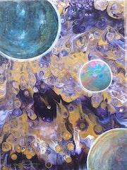 Peinture acrylique - Pluie de météorites.