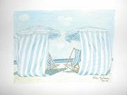 Aquarelle originale - cabines de plage - signee du peintre - encadree.